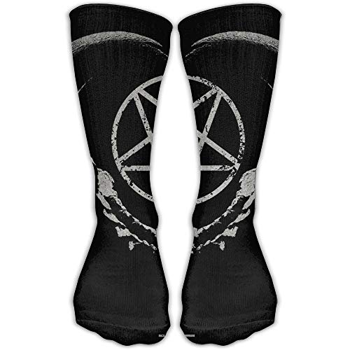 UFHRREEUR Women's Men's Classics Socks Gothic Occult Satan Penta Symbol Skull Athletic Stockings 30cm Long Sock One ()