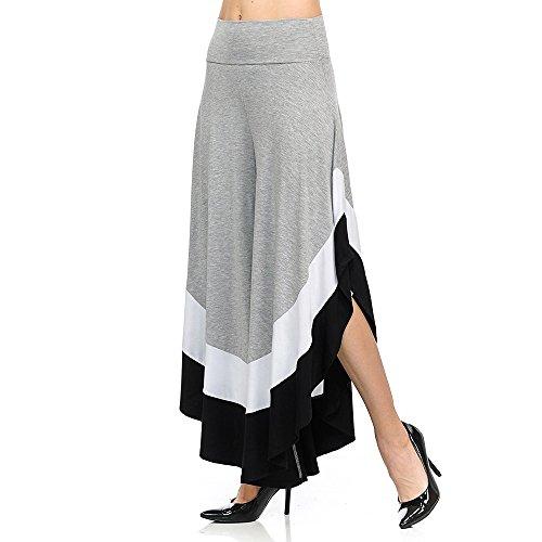 BOZEVON Donne di Colore Misto Metà Vita Elastica Ampia Gamba dei Pantaloni Grigio