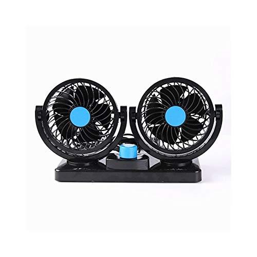 DOLDT1 12 V / 24 V Auto Klimaanlage Doppel Fan Tragbare Ventilateur Mini Fan Stille Rotierenden Auto Luftkühlung Fan Gebläse Tragbare Mini Fan (Color : 12v Blue) -
