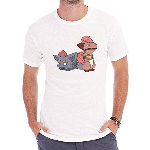 Pokemon Vulpix Ninetales Fire Cat Roap Herren T-Shirt Weiß