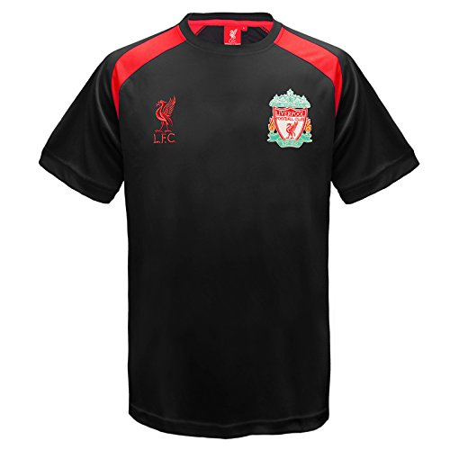 Liverpool FC Official Gift Boys Poly Training Kit T-Shirt Black 6-7 Yrs SB