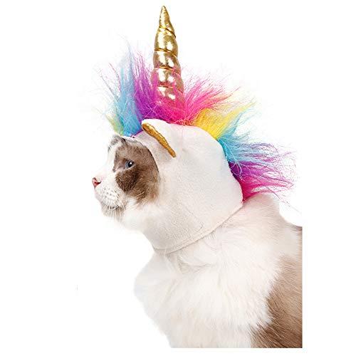 DELIFUR Traje de Perro Mascota Unicornio Sombrero Gatos Perros Peque?os Accesorio para Cachorro Cosplay de Halloween Cap