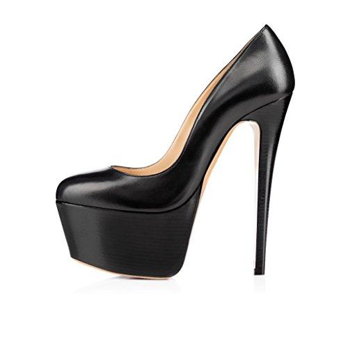 EDEFS Femmes Artisan Fashion Escarpins Classiques Elégants Lady Plateforme Chaussures à talon haut de 160mm Noir-P