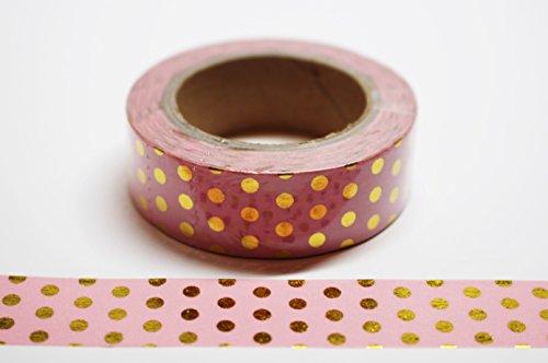 wolga-kreativ Washi Tape Punkte gold/rosa Masking Tape Dekoband (Masking Tape Rosa)