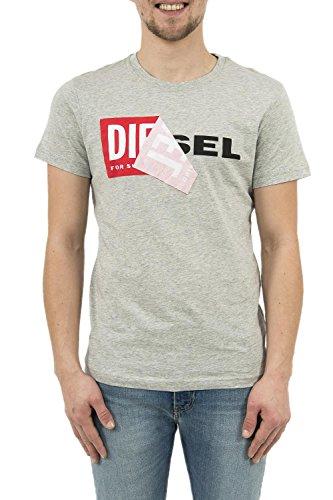 Diesel Herren T-Shirt 00S02X0091B, Grau (Heather/Grey 912), S (Größe Hersteller:S) (Diesel-baumwoll-polo-shirt)