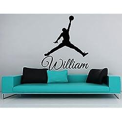 Adhesivos de pared personalizada nombre de Baloncesto vinilo de la etiqueta engomada de la ventana del cuarto de niños Dormitorio gimnasia Diseño de interiores Decoración del dormitorio Salón de Arte Murales Ah55