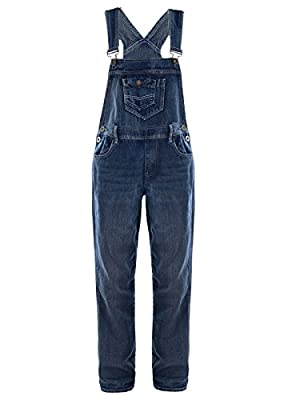 Anna-Kaci Womens Blue Denim Jean Straight Leg Distressed Pocket Bib Overalls