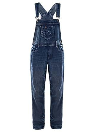 Anna-Kaci Womens Blue Denim Jean Straight Leg Distressed Pocket Bib Overalls