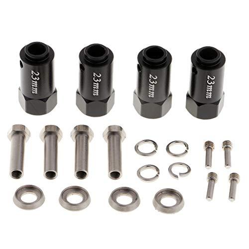 Baoblaze 23mm Rad Hex Kombinieren Längere Koppler Ersatzteile Metall Sechseckig Erweiterung Combiner Coupler Zubehör für 1/10 Crawler - Schwarz -