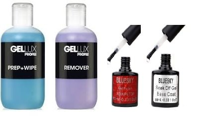 Bluesky No Wipe Top Coat & Base Coat + Salon System Gellux Profile Ultra Violet Gel Systems Prep Plus Wipe and Remover Acetone 250ml
