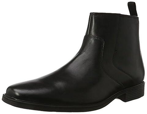 Clarks Tilden Zip, Bottes Chelsea Homme, Noir (Black Leather), 41/42 EU