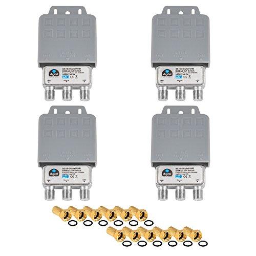 4x DiseqC Schalter Switch 2/1 mit Wetterschutzgehäuse HB-DIGITAL 2x SAT LNB 1 x Teilnehmer / Receiver für Full HDTV 3D 4K UHD + 12 x Vergoldete F-Stecker Vergoldet