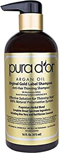PURA D'OR Original Gold Label Anti-Thinning Shampoo, Clinically Tested Effective Solution, Infused with Organic Argan Oil, Biotin & Natural Ingredients, for All Hair Types, Men and Women, 473 ml
