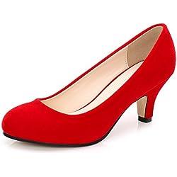 OCHENTA Mujer Cabeza Redonda Gatito talón Vestido Bombas de Trabajo Rojo Velvet Tamaño Asiático 45-EU 43