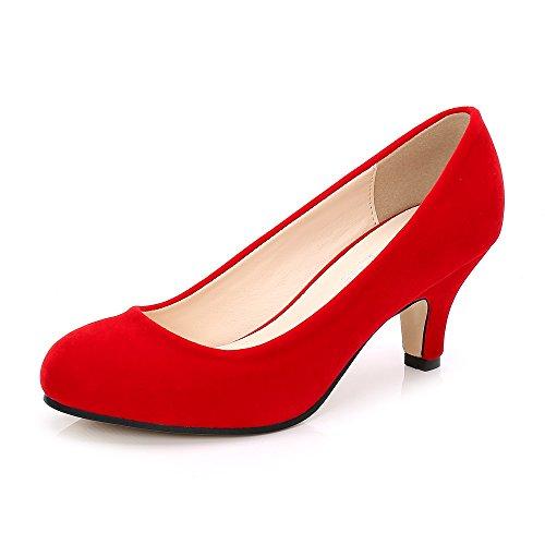 OCHENTA Mujer Cabeza Redonda Gatito Talón Vestido Bombas de Trabajo Rojo Velvet Tamaño Asiático 40-EU 39