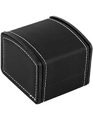 Caja de reloj de cuero con la almohadilla del reloj Embalaje para el pendiente del reloj del brazalete Box-Negro