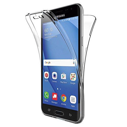 Galleria fotografica AICEK Cover Samsung Galaxy J3 2016, 360°Full Body Cover Samsung J3 2016 Silicone Case Molle di TPU Trasparente Sottile Custodia per Galaxy J3 2016