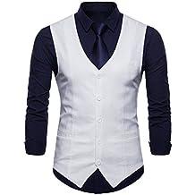 63deaf9428d78a INVACHI Slim fit Herren stilvoll Anzugweste Baumwolle-Leinen Weste mit  V-Ausschnitt Freizeit