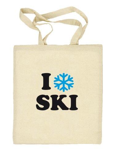 Shirtstreet24, I LOVE SKI, Apres Ski Wintersport Natur Stoffbeutel Jute Tasche (ONE SIZE) Natur