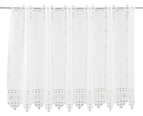 Tenda della finestra crochet conclusione altezza 55 cm   può scegliere la larghezza in segmenti da 16 cm, come vuole   colore: bianco   tendine cucina