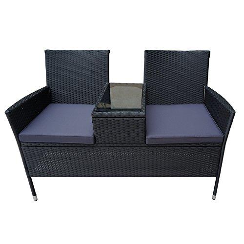 FROADP Poly Rattan balkonmöbel Garten möbel Set inkl. Sitzbank mit Tisch und Anthrazit Sitzkissen (Anthrazit Sitzkissen,B Type)