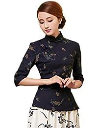 cb35bd7fcb68cd ACVIP Damen Retro Stehtkragen Blumen Muster Chinesische Art Cheongsam Bluse