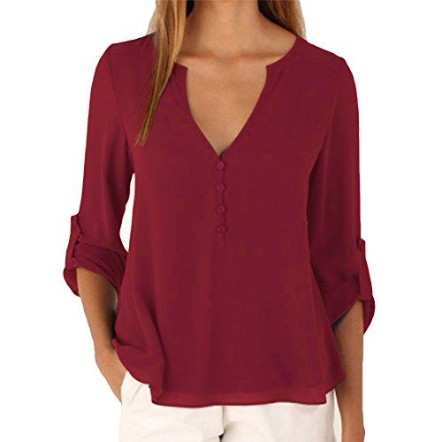 iBaste Blusen Damen Oberteile V-Ausschnitt T-Shirt Tops Locker Chiffon Bluse Tunika für Damen