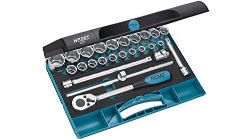 HAZET Profi-Steckschlüssel-Satz Vierkant (12,5 mm (1/2 Zoll), 25-teilig, mit Umschaltknarre 916SP, 2-Komponenten-Weichschaum-Einlage) 900