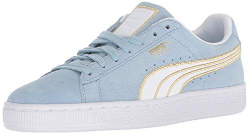 PUMA Women s Suede Varsity Sneaker  Cerulean White  9 5 M US
