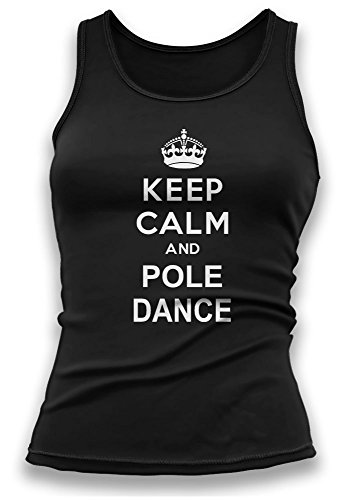 Paranoid Penguin Keep Calm and Pole Dance V2 Womens Ladies Vest Tank Top - Gift For Wife - Gift For Girlfriend - Funny T-Shirt (Small, Black)
