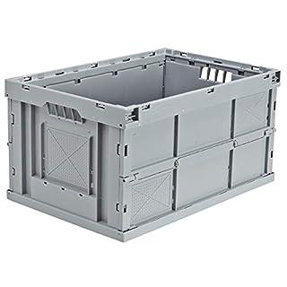 utz Faltbox aus Polypropylen - Inhalt 63 l, LxBxH 600 x 400 x 320 mm - grau, VE 4 Stk - Box Faltbox Kasten Klappbox Kunststoffbehälter Kunststoffstapelbehälter Stapelbox Stapelkasten aus Kunststoff Transportkiste aus Kunststoff Kunststoff-Sstapelbehälter