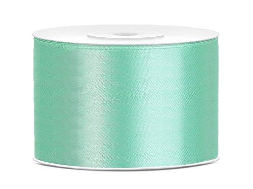 SiDeSo® SATINBAND 25m x 50mm viele Farben Hochzeit Dekoband Geschenkband Antennenband Schleifenband (mint)