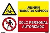 MovilCom® - Señal combinada ¡PELIGRO! PRODUCTOS QUIMICOS/PROHIBIDO SOLO PERS AUTORIZADO material PVC 0.7mm 600X400mm señal informativa (ref.FRD4300602)