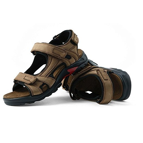 Moollyfox Homme En Cuir De Sport Et De Plein Air Grande Taille Sandales Kaki