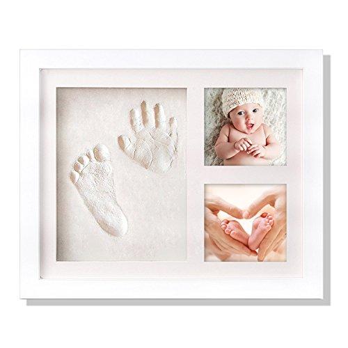 Mture Baby Handabdruck Fußabdruck, Baby abdruck personalisierter Baby-Bilderrahmen, Echtholz Babyrahmen mit sicherem Acrylglas und keine giftigen, sicheren Abdruckmasse- weiß