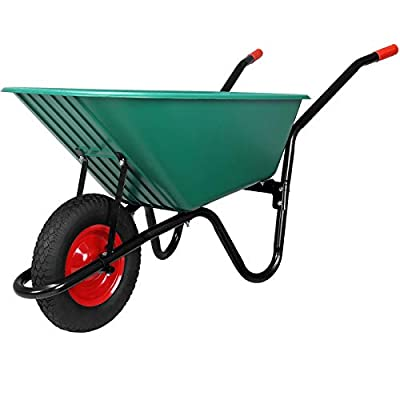 Deuba Wheelbarrow 100L Garden Wheel Barrow Heavy Duty Pneumatic Tyre Polypropylene Plastic 150Kg Wheelbarrows