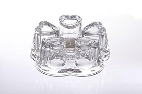 Stövchen / Glasstövchen / Teewärmer / Speisenwärmer aus Glas mit 5 Auflageflächen in Herzform, Original