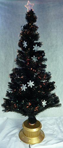 72 Inch Black Fibre Optic Christmas Tree With Blue LED Snowflakes