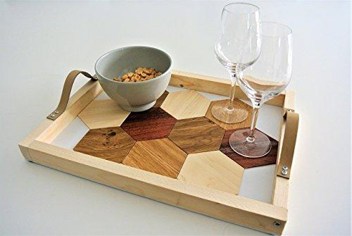 Aperitif Tablett mit unter integrierten Gläsern, geometrische Muster, Holz-Finish - Moderne Holz-finish Tisch