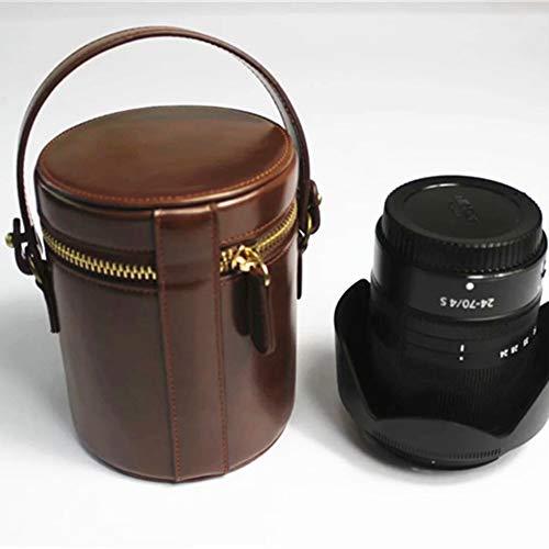 SLR Camera Lens Cover/Portable Pu Lens Tube/Lens Tube/Lens Protection Bag for All Kinds of Mainstream Camera Lens (2 Color Optional),Brown,L