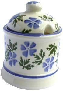 ECP Design Brixton Pottery Pot à confiture en céramique Motif géranium Bleu