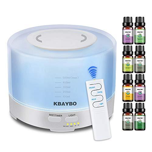 KBAYBO Humidificador ultrasónico de aromaterapia 500ml, 8 Piezas de...