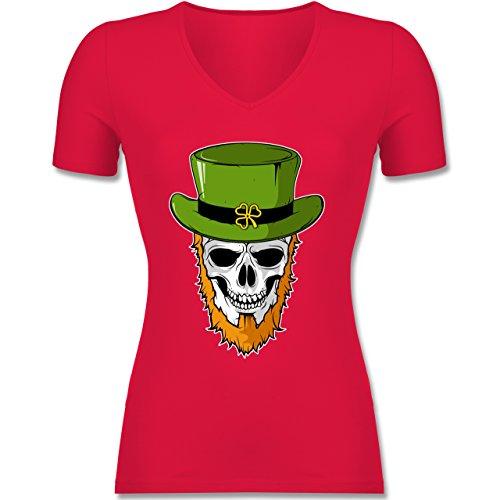 Festival - St. Patricks Day - Totenkopf - Tailliertes T-Shirt mit V-Ausschnitt für Frauen Rot