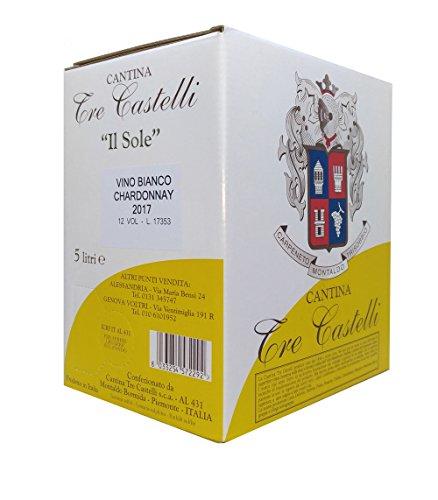 Chardonnay 12° 2017 - 5 Litri - Piemonte - Il Sole Cantina Tre Castelli Bag in Box