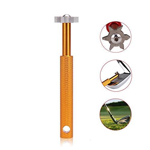 AOLVO Groove Sharpener, 6 Köpfe Golf Club Groove Sharpener Werkzeug für Keile und Eisen - Heavy Duty Golf Club Groove Cleaner Groove Sharpener Tool für alle Golfeisen, Gold -