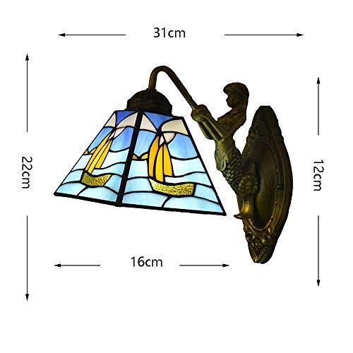 BBG Schöne und großzügige Wandleuchte Europäische Tiffany-Stil Meerjungfrau-Wandleuchte Mediterrane Farbe Glas Lampenschirm Einfache Kinder 'S Wohnzimmer Schlafzimmer Bedside Study Porch Villa Fixtur