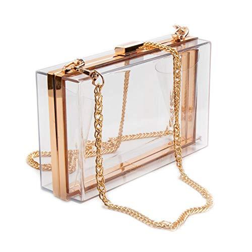 Abend-tasche Frame (boshangmao Damen Clutch, Acryl, durchsichtig, Handtasche, Abendtasche, Gold Frame Clear - Größe: Einheitsgröße)
