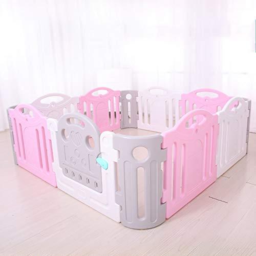 FMEZY Baby Laufstall, 12 Kunststoffplatten, 190 x 190 cm, Kindersicherheits-Spielgehege (Farbe: Blau + Weiß) Rosa/Weiß -