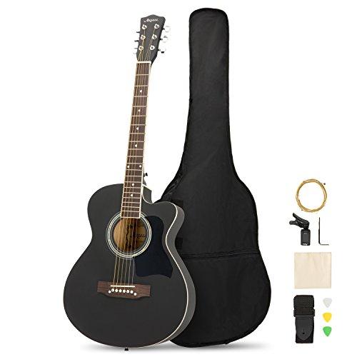 ARTALL Kit de iniciación de guitarra acústica de madera maciza de 99 cm hecho a mano con afinador, cuerdas, púas, correa, negro mate