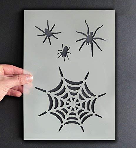 Spinnennetz Schablone Halloween Stil Dekor & Basteln Schablone Farbe & Gestalte Zeichen,Wände, Stoffe, Möbel Wiederverwendbar ... - 11x17cm - See Images